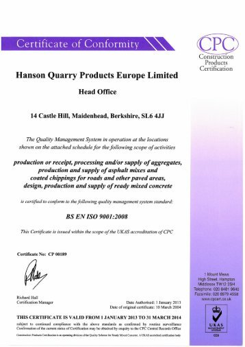 HQP ISO 9001 Certificate Schedule Issue 1 - HeidelbergCement