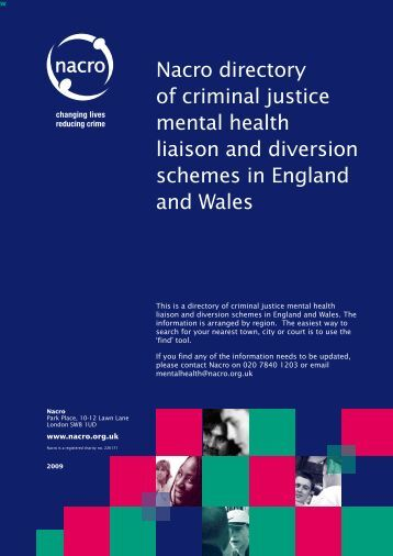 Nacro directory of criminal justice mental health liaison and ...