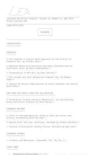 leonardoelectronicalmanac vol 13 no 5 issn 1071-4391 isbn 978-0 ...
