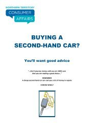 BUYING A SECOND-HAND CAR? - NT Consumer Affairs