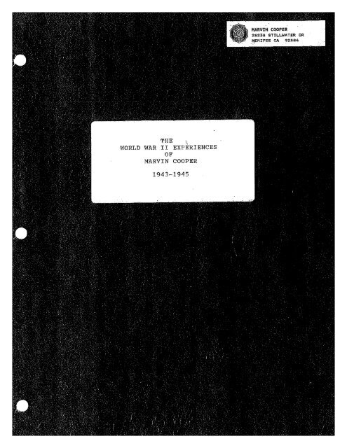 The WWII Experiences of Marvin Cooper, GM2c, UDT - U.S.S. ...