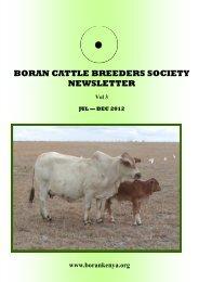 BORAN CATTLE BREEDERS SOCIETY NEWSLETTER