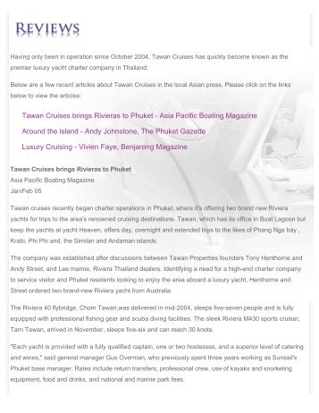 TAWAN CRUISES :: Luxury Yacht Charter :: Phuket, Thailand ::