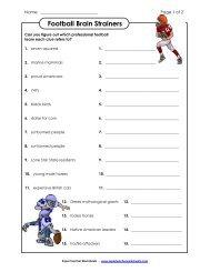 Football Brain Strainers (Medium) - Super Teacher Worksheets