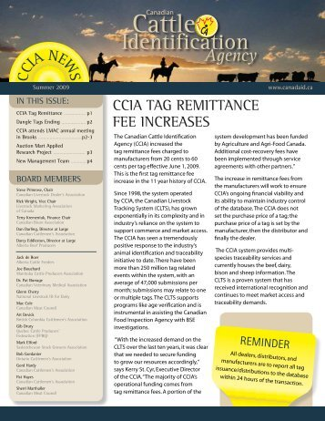 Summer 2009 Newsletter - Canadian Cattle Identification Agency