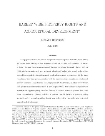 barbed wire: property rights and agricultural development - Harvard ...