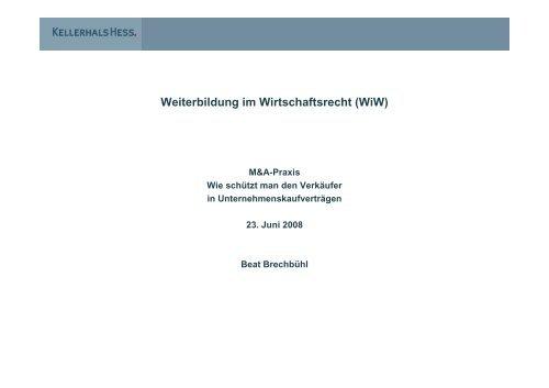 Weiterbildung im Wirtschaftsrecht (WiW ... - Kellerhals Anwälte