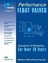 RMC Robert Manufacturing Co. Performance FLOAT VALVES