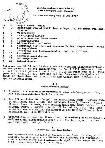 Gefahrenabwehrverordnung - Samtgemeinde Spelle