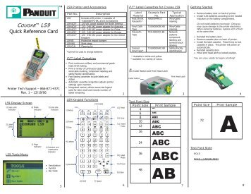LS9 Quick Reference Card - Panduit