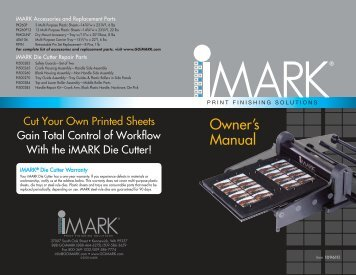 Owner's Manual - iMARK® Print Finishing Solutions system