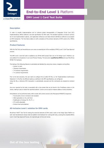 EMV Level 1 Card Test Suite - Integri