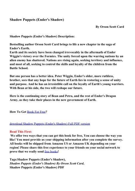 Shadow Puppets Enders Shadow Pdf Ebooks Free Download