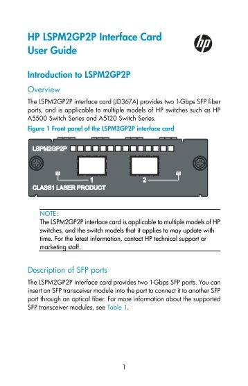 HP LSPM2GP2P Interface Card User Guide - Business Support ...