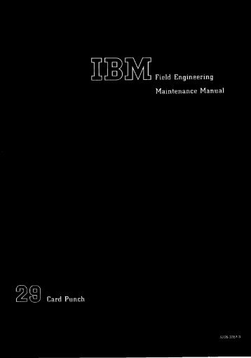 IBM 029 Field Engineering Maintenance Manual