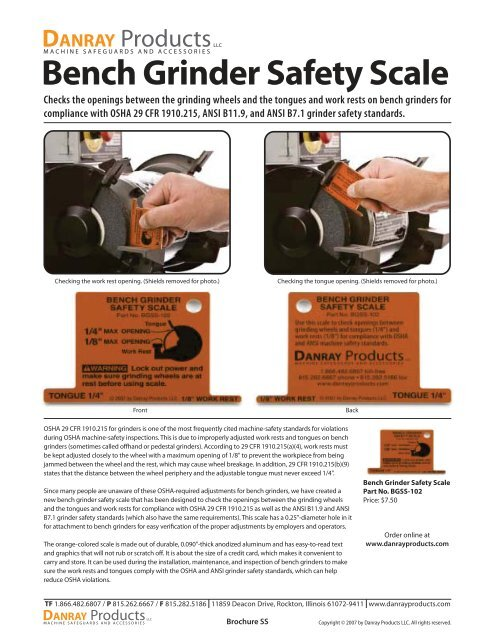 Bench Grinder Safety Scale Brochure Lovegreen Industrial Services