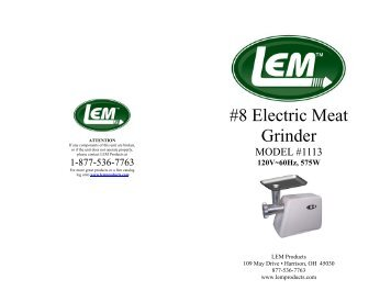 #8 Electric Meat Grinder - LEM Products