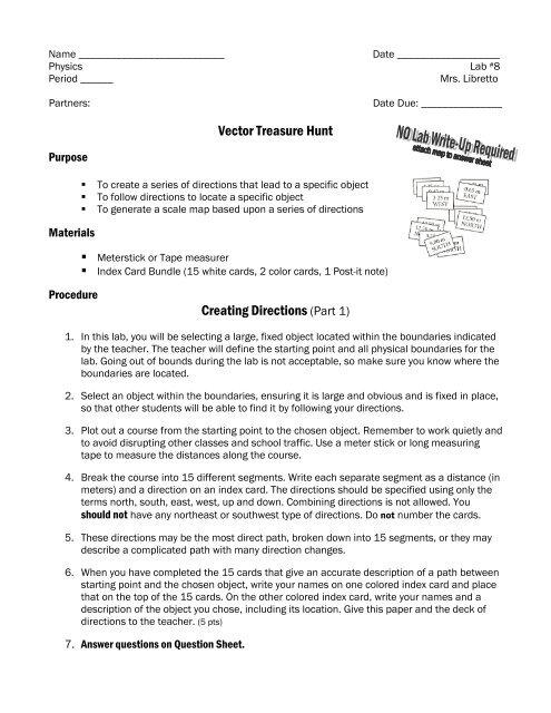 Vector Treasure Hunt Creating Directions Part 1