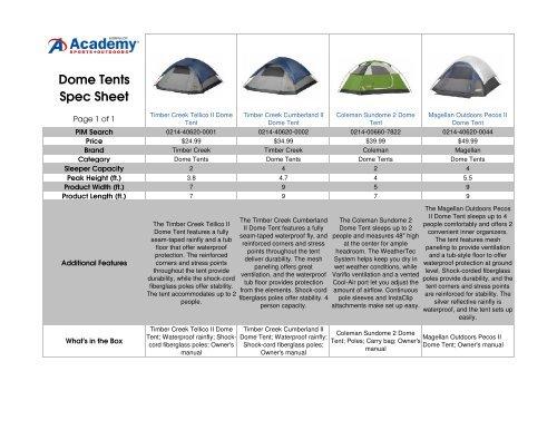 Dome Tents Spec Sheet