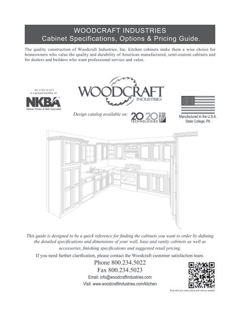 Woodcraft Industries Cabinet Specifications Options