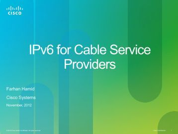 IPv6 for Cable Service Providers