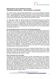 Stellungnahme PKS Spitalplanung - Privatkliniken Schweiz