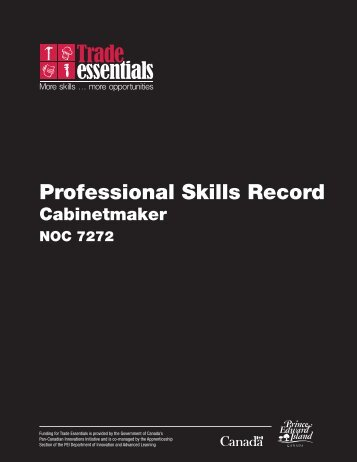 Professional Skills Record: Cabinetmaker - National Adult Literacy ...