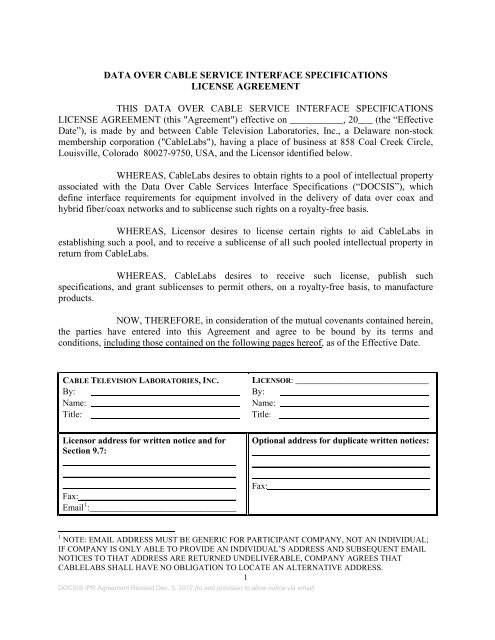 Docsis License Agreement Cablelabs