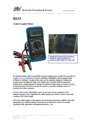 BS33 Cable Length Meter - BSTCaltek.com