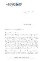 """""""Dringliche KVG-Revision"""" Sehr geehrte Damen und Herr"""