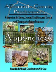 Albemarle County Biodiversity: Appendices