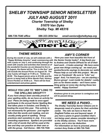 July and August 2011 Newsletter.indd - Shelby Township