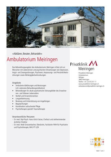 Infoflyer Ambulatorium Meiringen - Privatklinik Meiringen