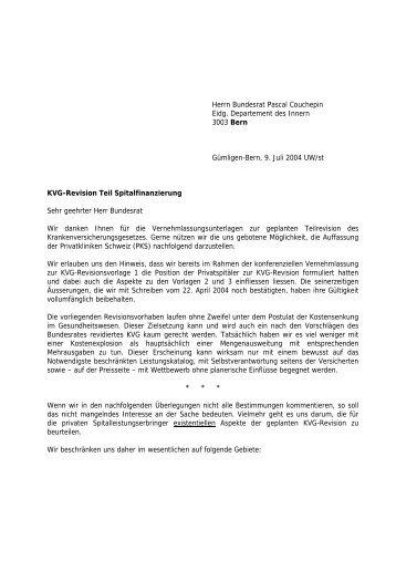Herrn Bundesrat Pascal Couchepin Eidg ... - Privatkliniken Schweiz