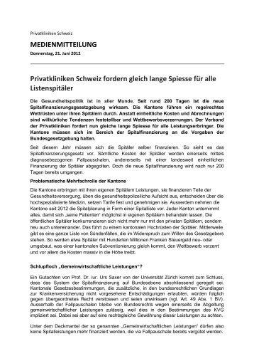 MEDIENMITTEILUNG Privatkliniken Schweiz fordern gleich lange ...
