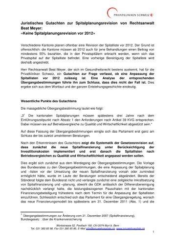 Keine Spitalplanungsrevision vor 2012 - Privatkliniken Schweiz