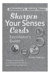 Sharpen Your Senses Facilitator's Guide - Attainment Company