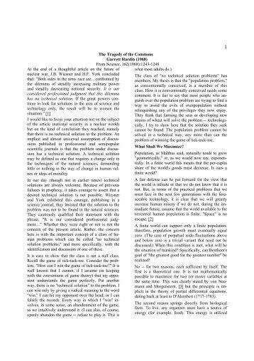 garrett hardin tragedy ofthe commons pdf