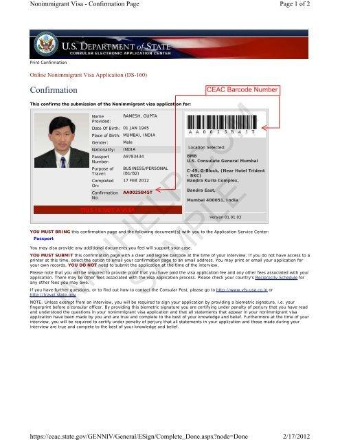 Sample US Visa DS-160 Form Confirmation Page - Immihelp