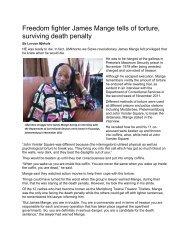 Freedom fighter James Mange tells of torture, surviving death penalty