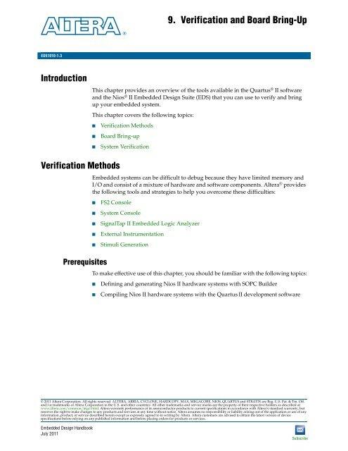 Verification and Board Bring-Up - Altera