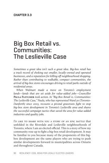 Big Box Retail vs. Communities - Centre for Civic Governance