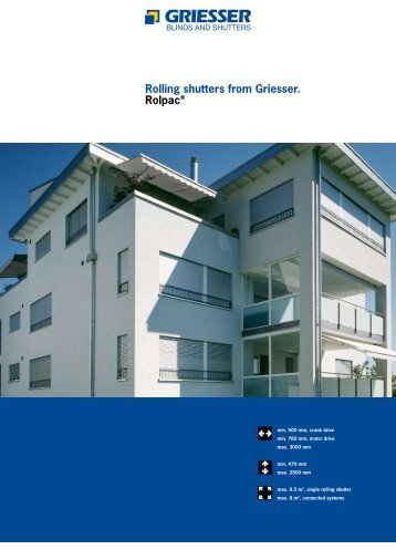 Rolling shutters from Griesser. Rolpac® - Crocist