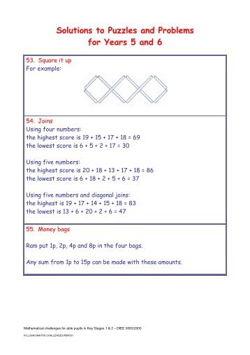 Brilliant maths puzzles for 6 7 year olds australian teacher solutions to puzzles and problems for years 5 and 6 suffolk maths fandeluxe Images