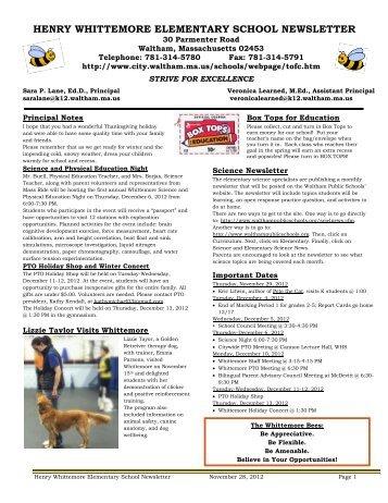 henry whittemore elementary school newsletter - Waltham Public ...