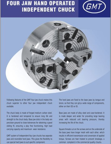Following features of the GMT four jaw chuck - Guindy Machine ...