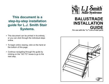BALUSTRADE INSTALLATION GUIDE - LJ Smith | Stair Systems