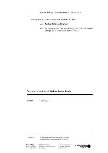 Applicant evidence - Michael Sleigh - Environment Canterbury