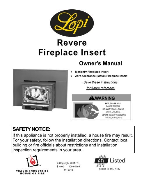 Revere Fireplace Insert Owner U0026 39 S Manual