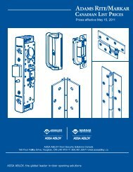 Prices effective May 15, 2011 - ASSA ABLOY